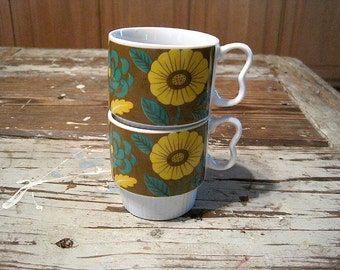 Two Vintage Stacking Brown, Green & Yellow Made in Japan Floral Mugs