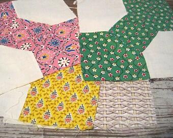 Four Vintage Bow Tie Quilt Blocks