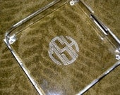 Engraved Circle Monogram Serving Tray - Square Acrylic Tray with Handles