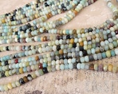 "6mm x 4mm Amazonite Gemstone Faceted Rondelle Beads - 16"" strand - Shiny Opaque Milky Blue Green Gray Tan - (96 beads) Central Coast Charms"