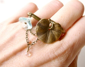 Enchanting water lily double ring ( brass, tears, multi strands, fairytale, whimsical, magic , chain ) 14