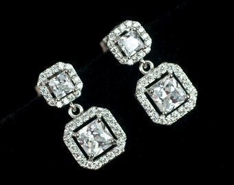 Bridal Earrings, Cubic Zirconia Luxurious Bridal Earrings, Square Cubic Zirconia Stud Dangle Earrings, Bridal Jewery, Bridesmaids Earrings