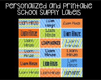 Printable Personalized School Labels, Stickers, Supply labels
