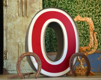 Vintage Marquee Sign Letter Capital 'O': Large Maroon & White Wall Hanging Initial -- Industrial Neon Channel Advertising with WORKING LEDs