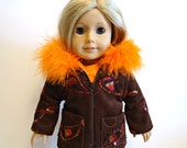 Hooded Coat boa trim Embroidered Sequins fits Girl Brown Orange Corduroy fits 18 inch doll
