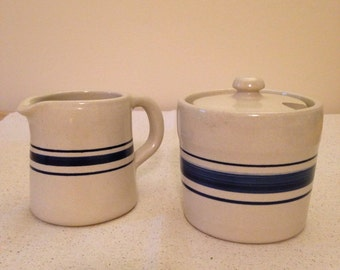 Shakers & Thangs ironstone pottery cream and sugar bowl set
