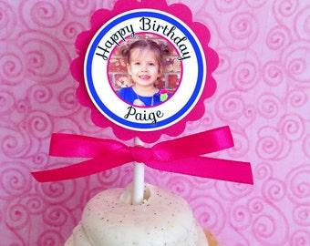 photo birthday cupcake toppers, custom photo birthday topper, personalized pink birthday cupcake topper, party cupcake topper, set of 12