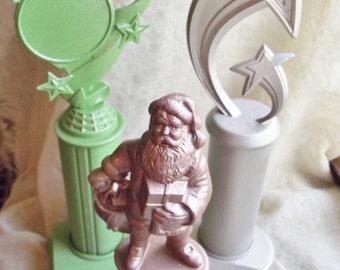 Santa Trophy Set Glittered painted trophies gold green award home accent decoration Christmas Contest Best Santa college school teacher gift