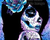 Tattooed Girl Art Print - Harmony 5x7, 8x10, or 11x14 - Day of the Dead Sugar Skull Lady Pretty Edgy Home Decor Lowbrow Dark Art