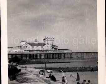 Vintage Photo, English Seaside Beach Resort, Black & White Photo, Found Photo, Travel Photo, Vacation Photo, Snapshot, Old Photo