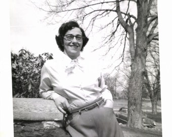 Vintage Photo, Woman in Park, Vintage Convertible, Black & White Photo, Found Photo, Old Photo, Snapshot, Vernacular Photo  *AUGUSTINE0459