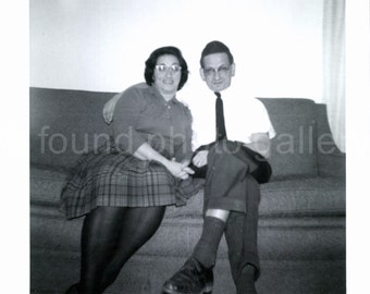 Vintage Photo, Couple Sitting on Couch, Man in Yarmulke, Woman In Plaid Skirt, Black & White Photo, Found Photo, Snapshot   AUGUSTINE0488