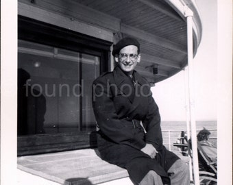 Digital Download, Man in Beret, Trench Coat, Ferry Boat, Vintage Photo, Black & White Photo, Travel Photo, Printable Photo