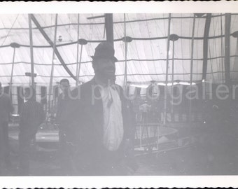 Vintage Photo, Circus Clown Under Big Tent, Silhouette, Found Photo, Old Photo, Snapshot, Vernacular Photo, Black and White Photo