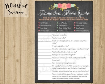 Bridal Shower Game Name That Movie Love Quote Romantic
