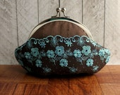 Brown and turquoise silk clutch with flower lace overlay, personalized clutch, chocolate brown clutch, small clutch purse with wrist strap