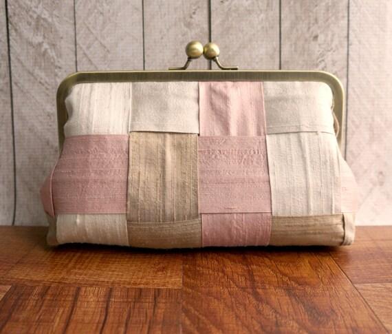 Neapolitan clutch, Silk clutch purse in cream, pink, and brown, framed clutch bag, kisslock evening bag