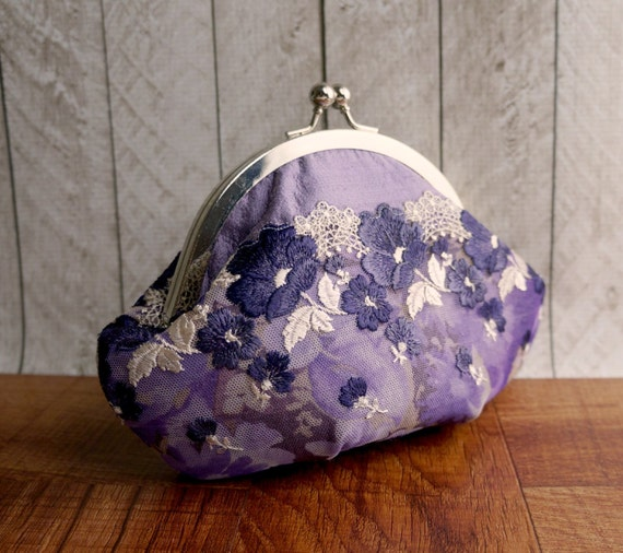 Lace clutch, Purple clutch, small clutch purse with wrist strap, lavender silk clutch with violet floral lace overlay, personalized clutch,
