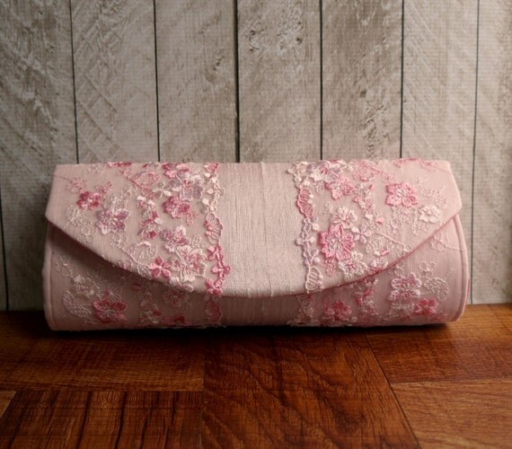 Clearance. Pale pink clutch, silk clutch bag, floral lace, pastel clutch, baby pink clutch purse with lace, lace clutch, spring fashion