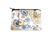 Small Women's Wallet, White Coin Purse & Card Holder with Blue Flowers, Pocket Wallet, Card Case, Zippered Pouch