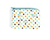 White Coin Purse and Card Holder with Polka Dots, Polka Dot Cardholder, Pocket Wallet, Card Case, Zippered Pouch