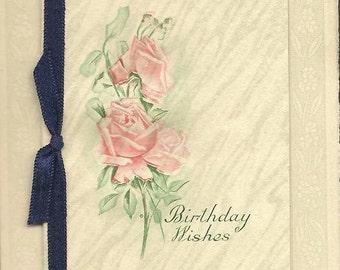 Novelty Fold Open Vintage Postcard – Birthday Wishes Satin Ribbon on Book Image by M Dulk
