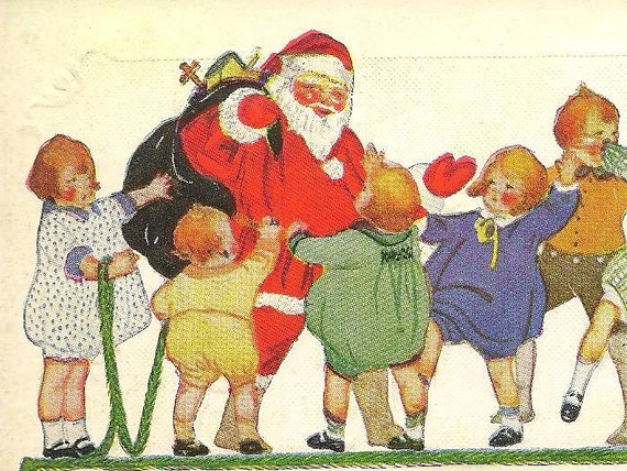 Santa Claus With His Sack Of Toys Surrounded By Happy Children