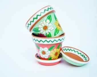 "Hand Painted Succulent Planter Set of 2, 3 Inch Terracotta ""Fiesta"" Pot, Shower Favor- Ready to Ship"