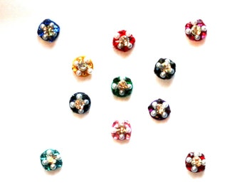 Colorful Round Indian Bindi Dots Chakra BBody Art Wedding & Bridal Fashion Jewelry