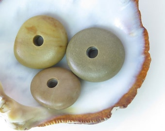 Center Drilled Beach Stones -Big Roundish Donut Pebbles- 3 psc- Organic Colorful Beads-Natural Stones Surftumbled