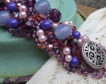 Purple Beaded Bracelet Handwoven Cuff with Button Clasp Shades of Purples