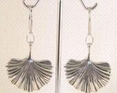 Ginkgo Leaf Sterling Silver Dangle Earrings