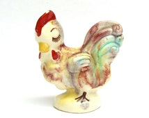 Vintage Chicken Figurine, Colorful Majolica, Kitschy Kitchen, Dripware 1950s