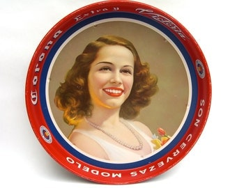Corona Modelo Serving Tray, Vintage Breweriana, Cerveza, Pretty Girl w/ Pearls, Cocktail Retro Bar Barware, Man Cave
