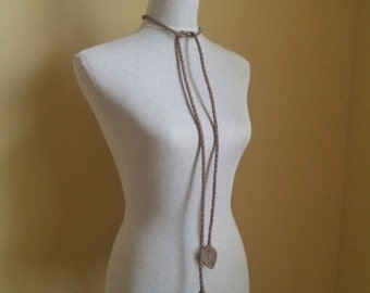 taupe tan brown braided leather belt by Tuscada. Ready to ship.