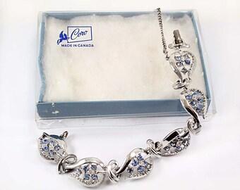 Vintage Light Sapphire and Crystal Rhinestone Bracelet - Original Box