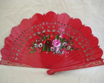 Regency/Victorian Style Fan. Brise. Red with Flowers. Hand Painted Wood