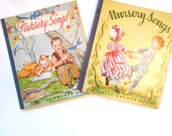 Nursery Songs, Tenth and Eleventh Printings, Vintage Little Golden Books, 1940s