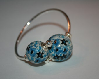 Sterling silver twist bangle bracelet (stoneware sold separately)