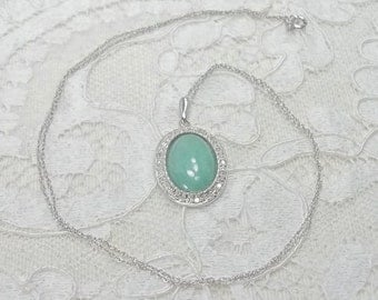 Jade and Diamond Halo Pendant Necklace in 14k Solid White Gold with an 18 inch 14k Solid White Gold Chain