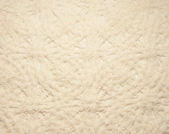 """28 x 18 Inches Gorgeous Super Plush """"Winter White"""" or Cream Starbursts and Pearls Ret Rac Vintage Chenille Bedspread Fabric Piece"""
