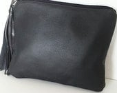 Navy Blue Leather Clutch Purse, Zippered Pouch