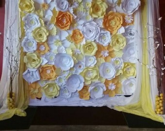 Extra Large Paper Flower wall Backdrop 6x6 feet for wedding, birthdays, baby shower and party decorations - Custom Colors