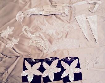 13 Piece Vintage White Beaded Appliqués Lot of 13 Pieces