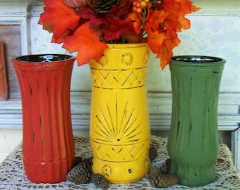 3 Handpainted Fall Vases in Goldenrod, Georgia Clay and Light Avacado with a Distressed Faux Finish