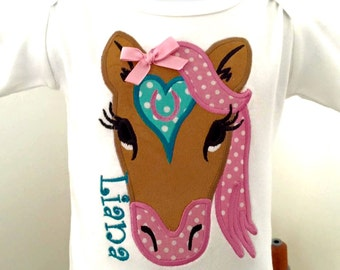 HORSE Applique with Name and Horseshoe on the Heart,choose any fabrics to you're liking