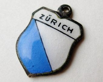 Vintage Charm Zurich Switzerland 800 Silver Enamel Travel Shield Souvenir Bracelet Charm