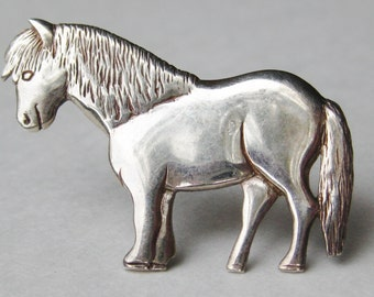 Vintage Scottish Sterling Silver Shetland Pony Figural Brooch Pin