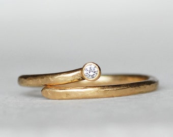 Gold and Diamond Wrap Ring - Shooting Star Ring - Choose 14k OR 18k Gold  - Eco-Friendly Recycled Gold