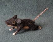 Needle Felted Mouse Shoulder Pet -- Shimmer Lab Mouse